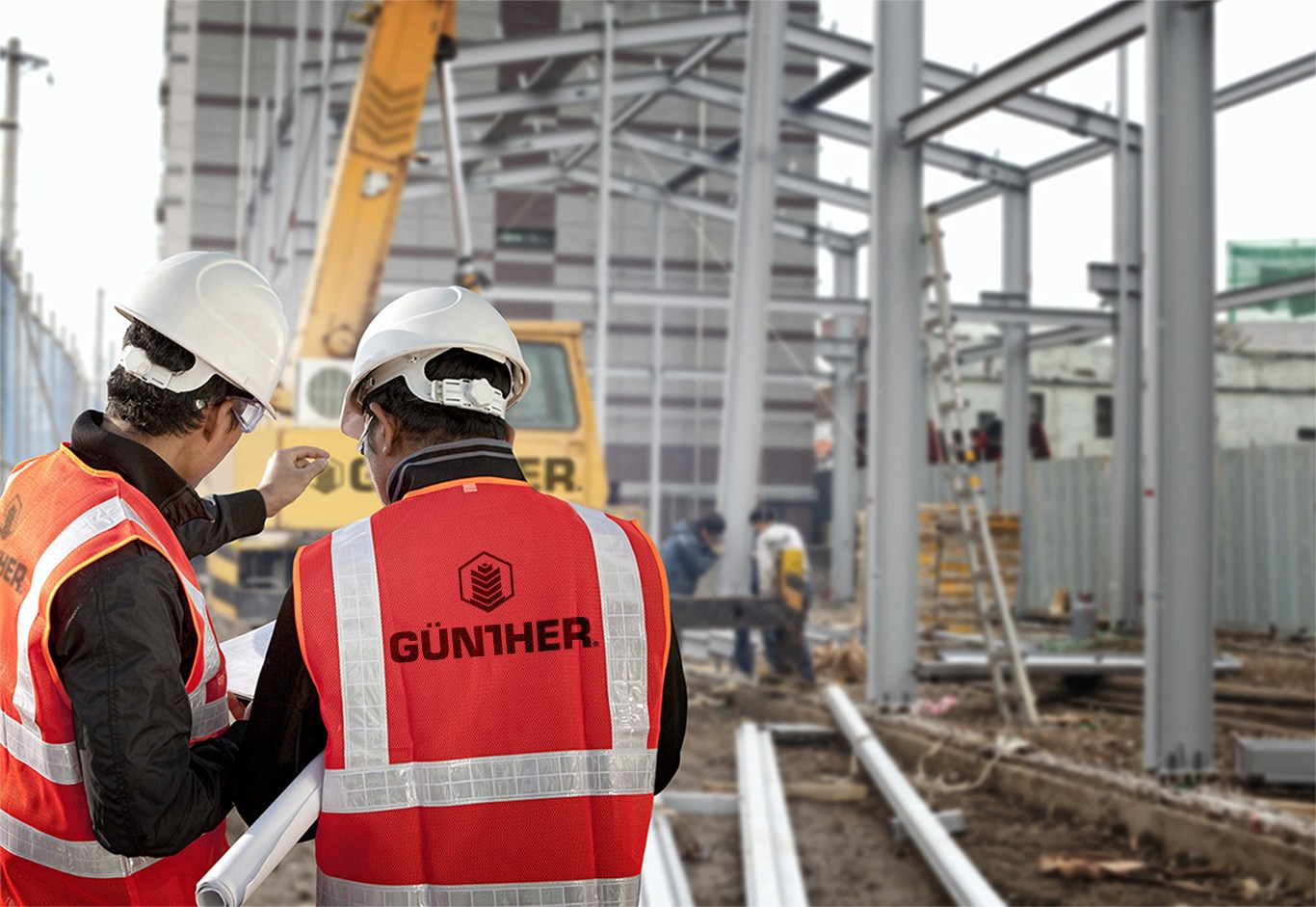construction workers wearing gunther logo