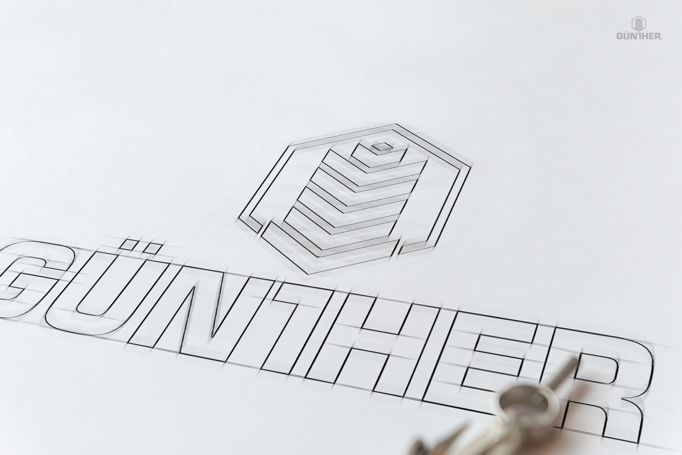 gunther logo and wordmark design